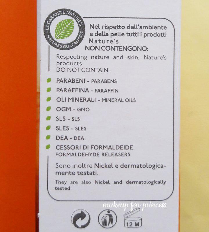 Prodotti Nature's Biosline ingredienti