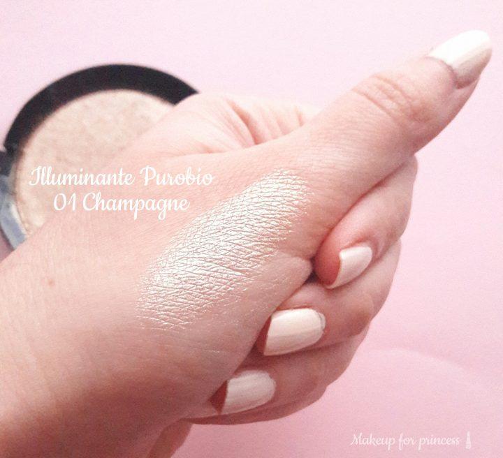 swatch illuminante purobio resplendent highligher 01 champagne alla luce